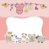 Cartão do chuveiro do bebé Fotos de Stock
