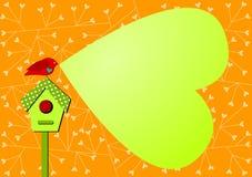 Cartão do convite com coração do pássaro e do discurso da bolha Fotografia de Stock Royalty Free