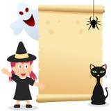 Cartão do convite da menina de Halloween Fotos de Stock