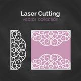 Cartão do corte do laser Molde para o corte do laser Ilustração do entalhe com decoração abstrata Convite cortado do casamento Imagem de Stock