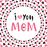 Cartão do dia da mãe Cartaz imprimível do vetor Rotulação da mão Imagens de Stock Royalty Free