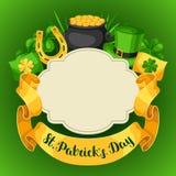 Cartão do dia de Patricks de Saint Bandeira, potenciômetro de moedas de ouro, trevos, chapéu verde e ferradura Imagens de Stock Royalty Free