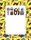 Cartão do equipamento da escalada dos desenhos animados Fotografia de Stock