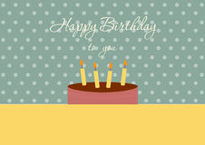 Cartão do feliz aniversario com o bolo de aniversário em fundos verdes do ponto, ilustrações do vetor Foto de Stock Royalty Free