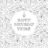 Cartão do feliz aniversario com teste padrão e letra do drawm da mão Fotos de Stock