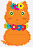 Cartão do gato da flor Fotos de Stock