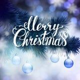 Cartão do Natal com as bolas do ramo e da noite do abeto Fotografia de Stock Royalty Free