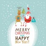 Cartão do Natal do cumprimento e do ano novo Imagem de Stock Royalty Free