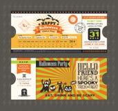 Cartão do partido de Dia das Bruxas no estilo da passagem do bilhete de trem Imagens de Stock Royalty Free