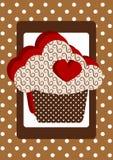 Cartão do ponto de polca do queque do coração Fotografia de Stock Royalty Free