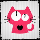 Cartão do Valentim com gato Imagens de Stock