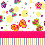Cartão do vetor das borboletas e das flores Fotos de Stock