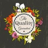 Cartão do vetor do cumprimento do vintage com flores Fotografia de Stock