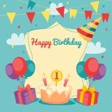 Cartão do vetor do feliz aniversario Foto de Stock Royalty Free