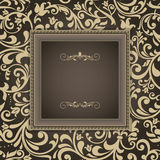 Cartão do vintage, convite com ornamento florais Fotos de Stock Royalty Free
