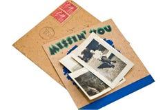 Cartão e fotos velhos Imagens de Stock Royalty Free