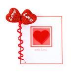 Cartão em branco com coração vermelho Fotografia de Stock