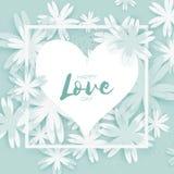 Cartão feliz do dia dos Valentim Flor de corte de papel Frame do coração Fotos de Stock Royalty Free