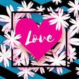 Cartão feliz do dia dos Valentim Flor de corte de papel Frame do coração Imagens de Stock