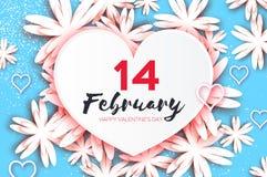 Cartão feliz do dia dos Valentim Flor de corte de papel Frame do coração Foto de Stock Royalty Free