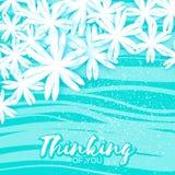 Cartão floral azul do origâmi bonito com lugar para o texto Imagens de Stock