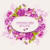 Cartão floral do vintage com rosas Fotografia de Stock