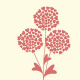 Cartão floral original bonito com corações Imagens de Stock Royalty Free