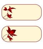 Cartão, - floral, - retângulo, - grupo--quarto Fotos de Stock Royalty Free