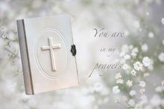 Cartão fúnebre das orações Imagens de Stock Royalty Free