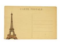 Cartão francês do vintage com a torre Eiffel famosa em Paris Fotografia de Stock Royalty Free