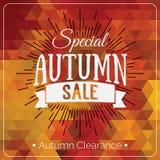 Cartão geométrico colorido do fundo com logotipo da venda do outono Bandeira geométrica do afastamento do outono do vintage Fotos de Stock