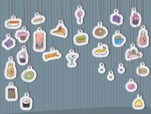 Cartão Hang_eps do alimento de petisco Fotografia de Stock