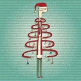 Cartão humano engraçado da árvore de Natal Fotos de Stock Royalty Free