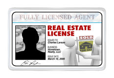 Cartão laminado - Real Estate licencia para o agente Professional Imagem de Stock Royalty Free