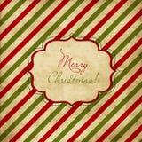 Cartão listrado vermelho e verde do Natal Fotografia de Stock