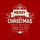 Cartão na moda do Feliz Natal do estilo liso retro superior do vintage Fotos de Stock