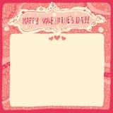 Cartão ou convite feliz do dia de Valentim com tipografia de Handlettering e fundo decorativo Imagens de Stock