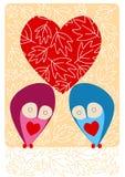 Cartão outonal das corujas Imagens de Stock