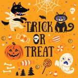 Cartão para Halloween Truque ou deleite Ilustração do vetor Fotos de Stock Royalty Free