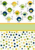 Cartão pequeno do convite dos pássaros do pintainho Imagens de Stock Royalty Free