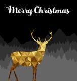 Cartão poli do ouro da silhueta dos cervos do Feliz Natal baixo Fotos de Stock