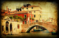 Cartão retro, Veneza italiana velha Fotos de Stock Royalty Free