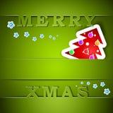 Cartão verde alegre do Xmas com árvore Fotografia de Stock Royalty Free