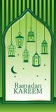 Cartão verde da lanterna da ramadã Fotos de Stock Royalty Free
