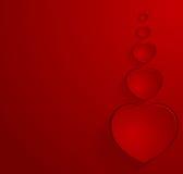 Cartão vermelho com corações Foto de Stock Royalty Free