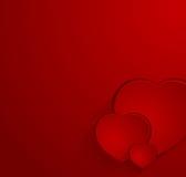 Cartão vermelho com três corações Imagem de Stock Royalty Free