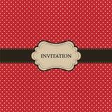 Cartão vermelho do vintage, projeto do ponto de polca Fotografia de Stock