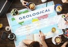Cartografía geológica Concep de la exploración de los coordenadas de los continentes fotografía de archivo