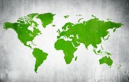 Cartografia verde del mondo in un fondo bianco Fotografie Stock Libere da Diritti