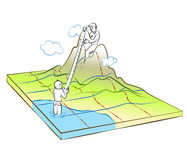 Cartographer making a map. Cartographers making a map based on topography Royalty Free Stock Image